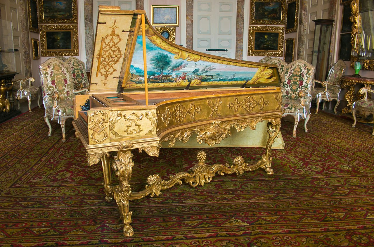 Photo Of Beautiful Old Harpsichord In The Borromean Palace Isola Bella Italy