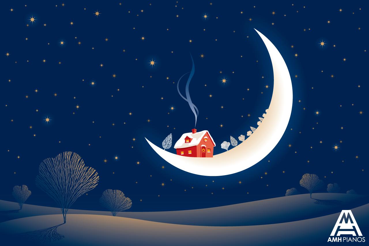 House On The Moon With A Christmas Feel