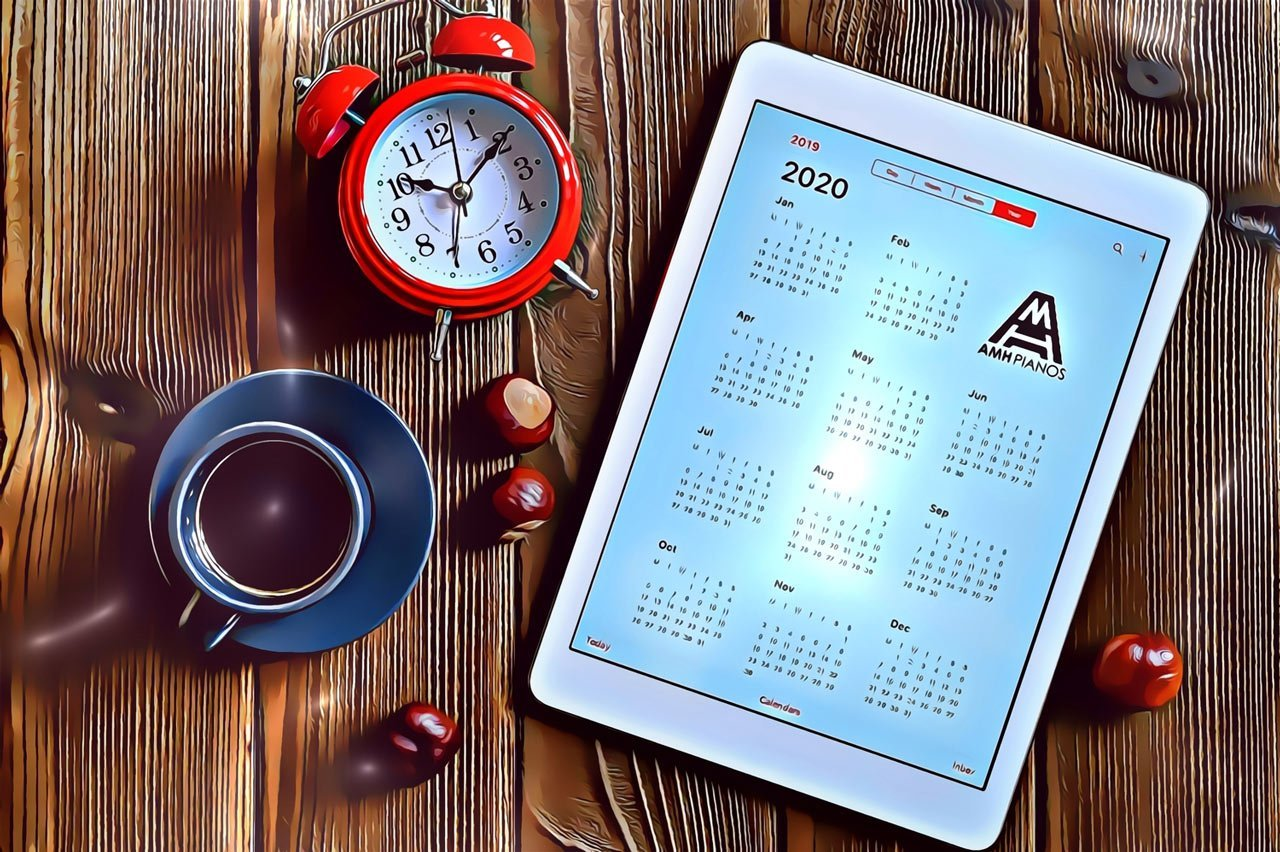 A Tablet With An Open Calendar For 2020 A Cup Of Coffee Chestnuts And A Red Alarm Clock On A Wooden Version 2