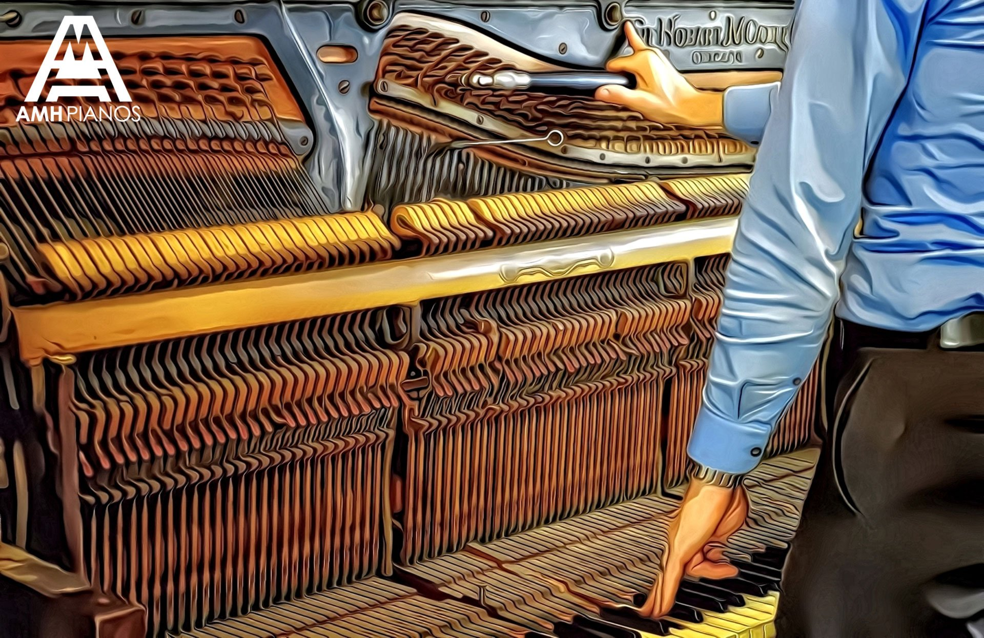 Man Tuning A Large Upright Piano